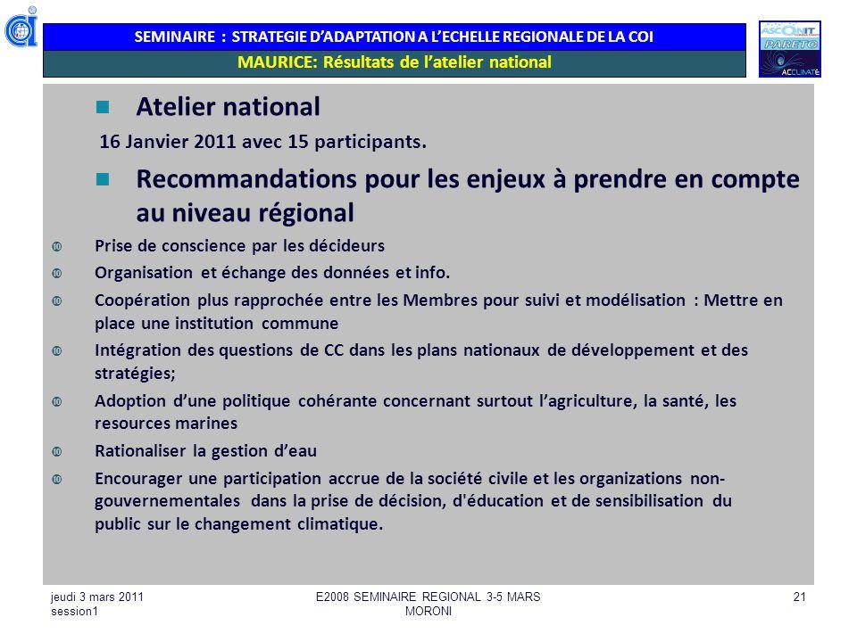 SEMINAIRE : STRATEGIE DADAPTATION A LECHELLE REGIONALE DE LA COI MAURICE: Résultats de latelier national Atelier national 16 Janvier 2011 avec 15 part