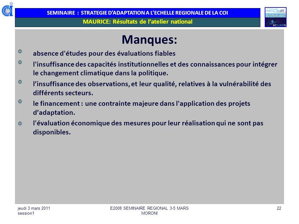 SEMINAIRE : STRATEGIE DADAPTATION A LECHELLE REGIONALE DE LA COI MAURICE: Résultats de latelier national Manques: absence d'études pour des évaluation