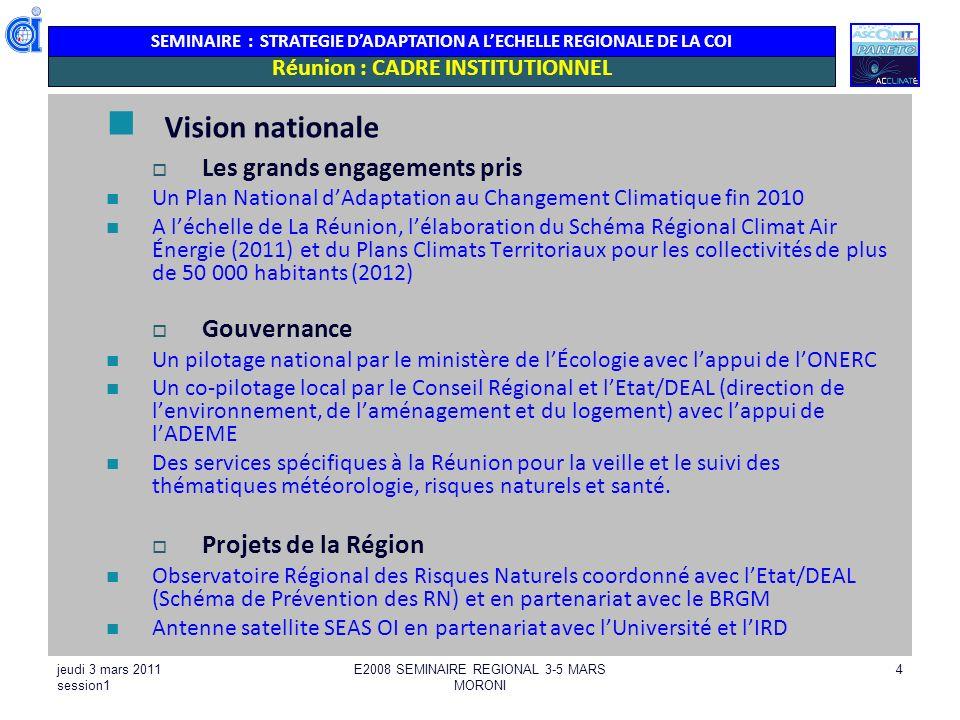SEMINAIRE : STRATEGIE DADAPTATION A LECHELLE REGIONALE DE LA COI jeudi 3 mars 2011 session1 E2008 SEMINAIRE REGIONAL 3-5 MARS MORONI 4 Réunion : CADRE