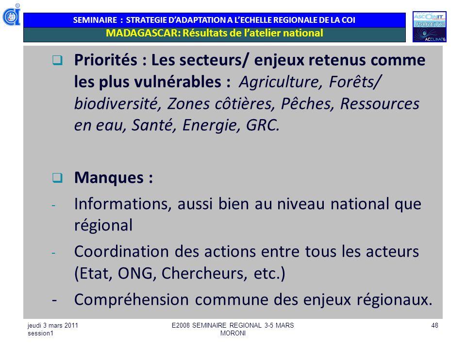 SEMINAIRE : STRATEGIE DADAPTATION A LECHELLE REGIONALE DE LA COI Priorités : Les secteurs/ enjeux retenus comme les plus vulnérables : Agriculture, Fo