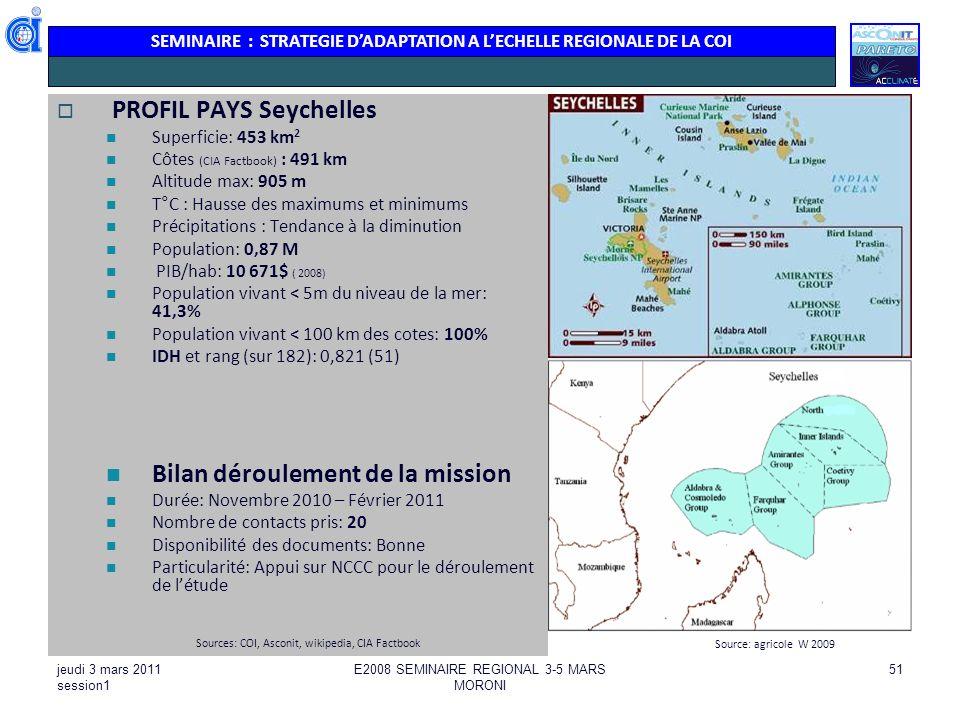 SEMINAIRE : STRATEGIE DADAPTATION A LECHELLE REGIONALE DE LA COI jeudi 3 mars 2011 session1 E2008 SEMINAIRE REGIONAL 3-5 MARS MORONI 51 PROFIL PAYS Se
