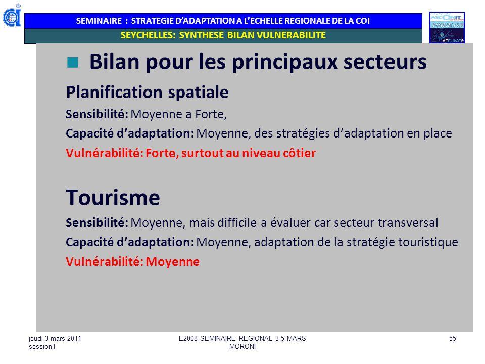 SEMINAIRE : STRATEGIE DADAPTATION A LECHELLE REGIONALE DE LA COI jeudi 3 mars 2011 session1 E2008 SEMINAIRE REGIONAL 3-5 MARS MORONI 55 SEYCHELLES: SY