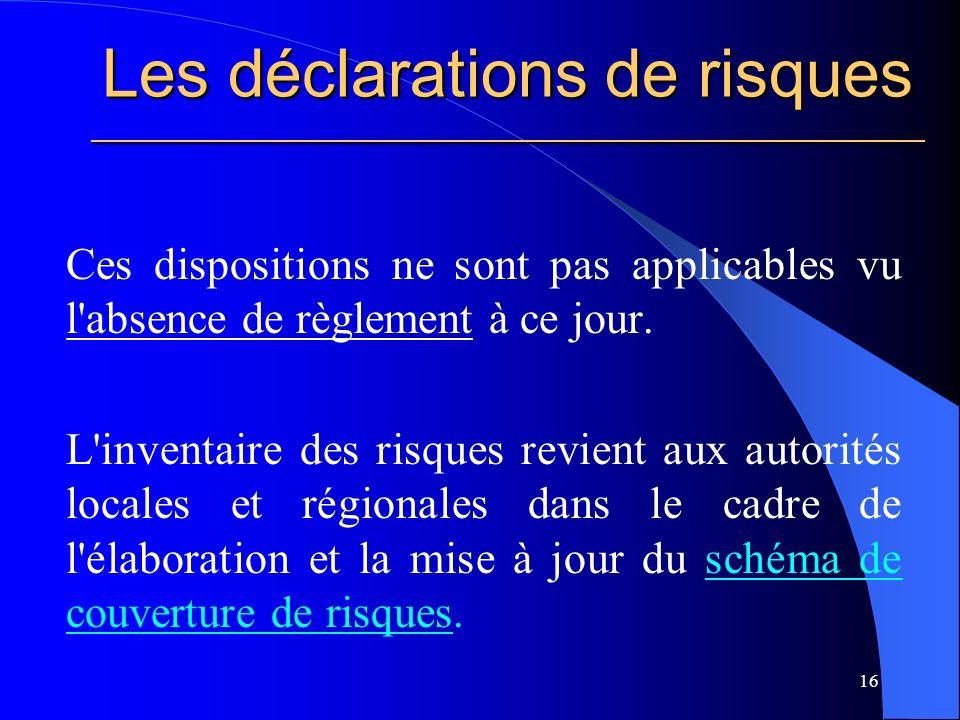 Les déclarations de risques ________________________________________________________ Ces dispositions ne sont pas applicables vu l absence de règlement à ce jour.