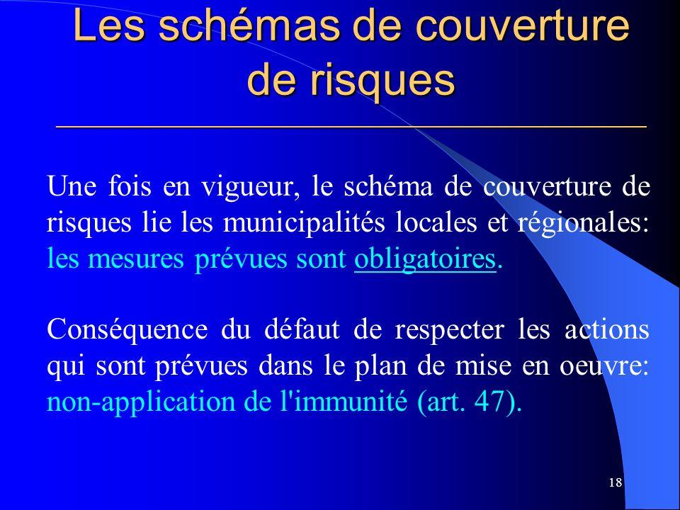 Les schémas de couverture de risques ________________________________________________________ Une fois en vigueur, le schéma de couverture de risques lie les municipalités locales et régionales: les mesures prévues sont obligatoires.