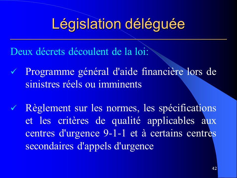 Législation déléguée ___________________________________________________________ Deux décrets découlent de la loi: Programme général d aide financière lors de sinistres réels ou imminents Règlement sur les normes, les spécifications et les critères de qualité applicables aux centres d urgence 9-1-1 et à certains centres secondaires d appels d urgence 42