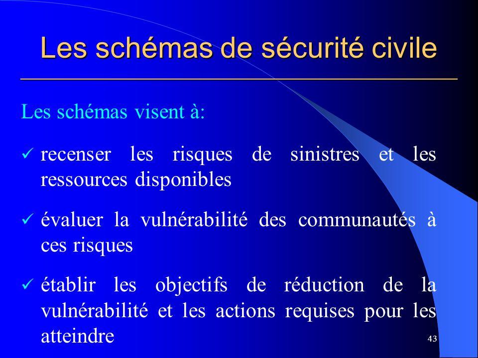 Les schémas de sécurité civile ___________________________________________________________ Les schémas visent à: recenser les risques de sinistres et les ressources disponibles évaluer la vulnérabilité des communautés à ces risques établir les objectifs de réduction de la vulnérabilité et les actions requises pour les atteindre 43