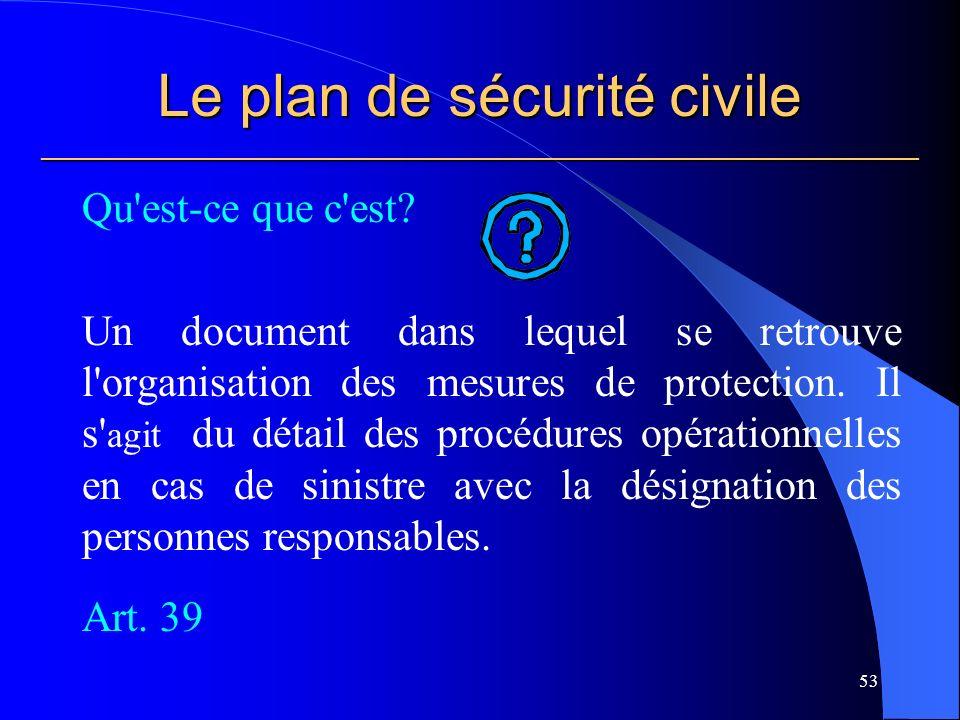 Le plan de sécurité civile ___________________________________________________________ Qu est-ce que c est.