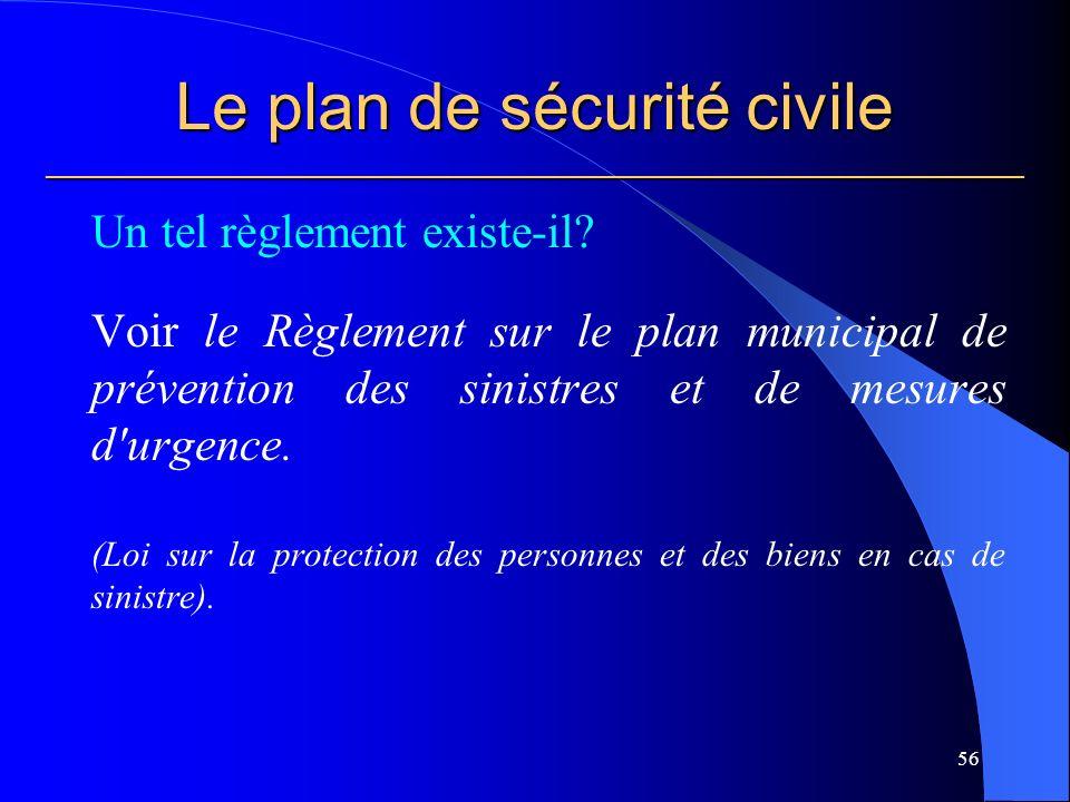 Le plan de sécurité civile ___________________________________________________________ Un tel règlement existe-il.