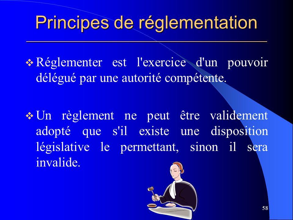 Principes de réglementation _____________________________________________________ Réglementer est l exercice d un pouvoir délégué par une autorité compétente.