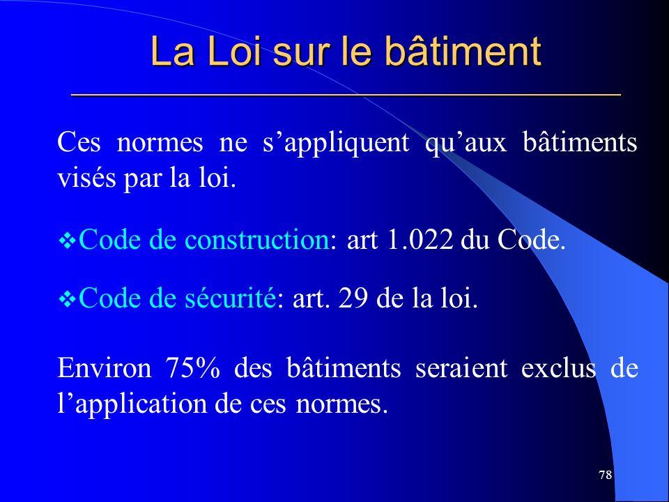 La Loi sur le bâtiment _____________________________________________________ Ces normes ne sappliquent quaux bâtiments visés par la loi.