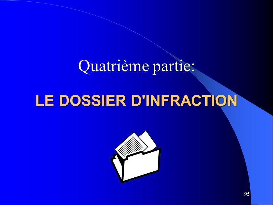 LE DOSSIER D INFRACTION Quatrième partie: 95