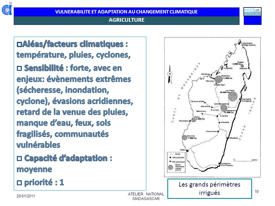 VULNERABILITE ET ADAPTATION AU CHANGEMENT CLIMATIQUE AGRICULTURE 20/01/2011 ATELIER NATIONAL MADAGASCAR 10 Les grands périmètres irrigués