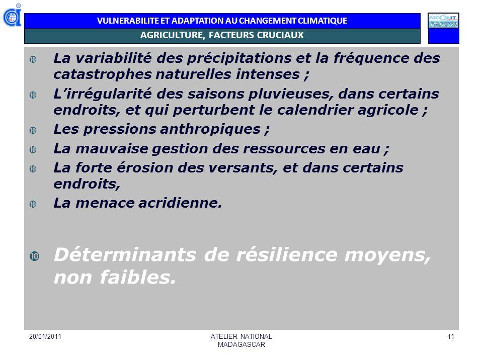 VULNERABILITE ET ADAPTATION AU CHANGEMENT CLIMATIQUE AGRICULTURE, FACTEURS CRUCIAUX La variabilité des précipitations et la fréquence des catastrophes