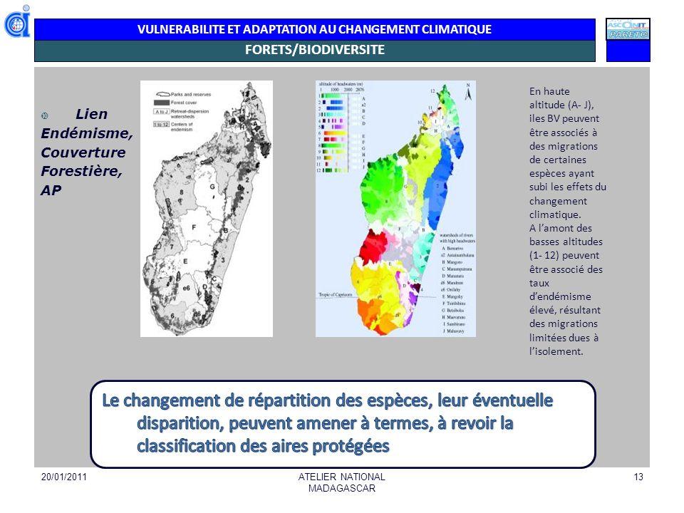 VULNERABILITE ET ADAPTATION AU CHANGEMENT CLIMATIQUE FORETS/BIODIVERSITE Lien Endémisme, Couverture Forestière, AP 20/01/2011ATELIER NATIONAL MADAGASC