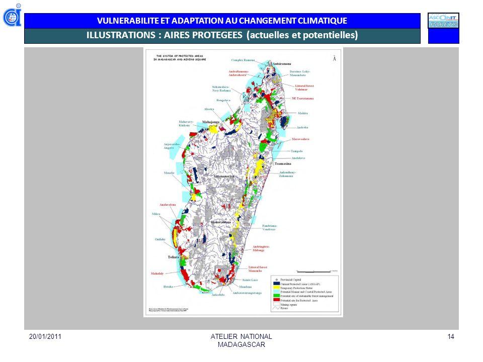 VULNERABILITE ET ADAPTATION AU CHANGEMENT CLIMATIQUE ILLUSTRATIONS : AIRES PROTEGEES (actuelles et potentielles) 20/01/2011ATELIER NATIONAL MADAGASCAR