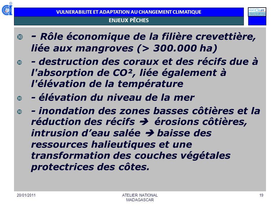 VULNERABILITE ET ADAPTATION AU CHANGEMENT CLIMATIQUE ENJEUX PÊCHES - Rôle économique de la filière crevettière, liée aux mangroves (> 300.000 ha) - de