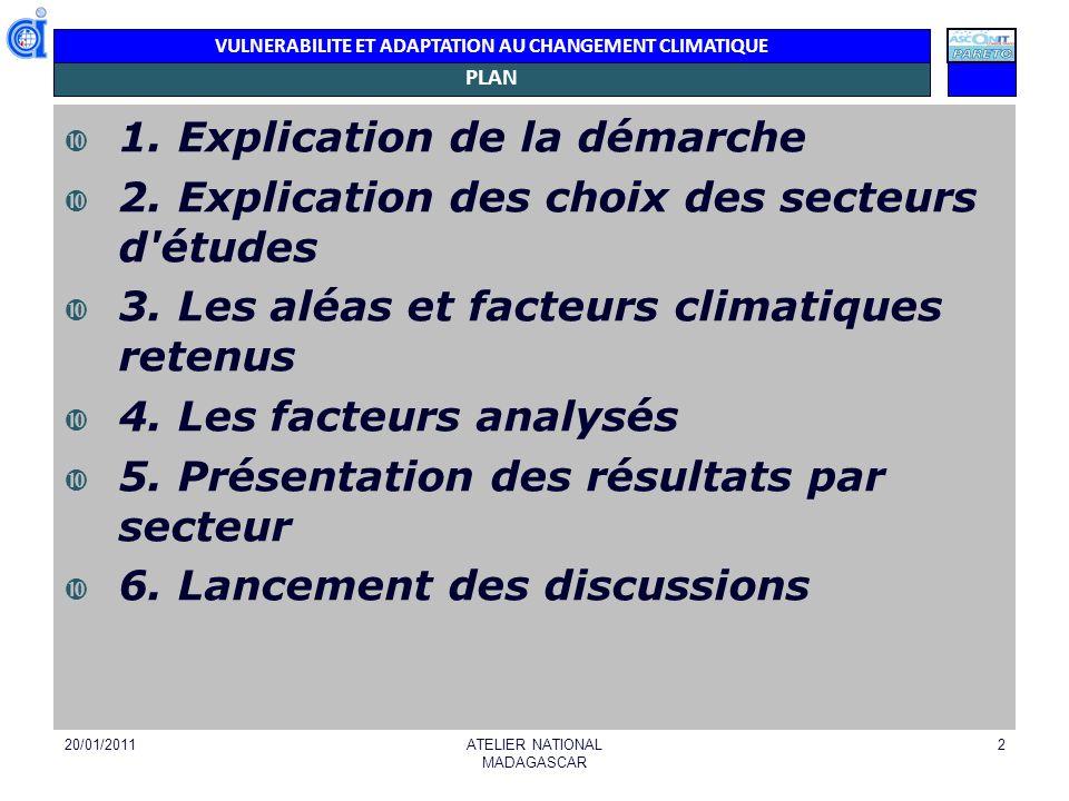 VULNERABILITE ET ADAPTATION AU CHANGEMENT CLIMATIQUE PLAN 1. Explication de la démarche 2. Explication des choix des secteurs d'études 3. Les aléas et