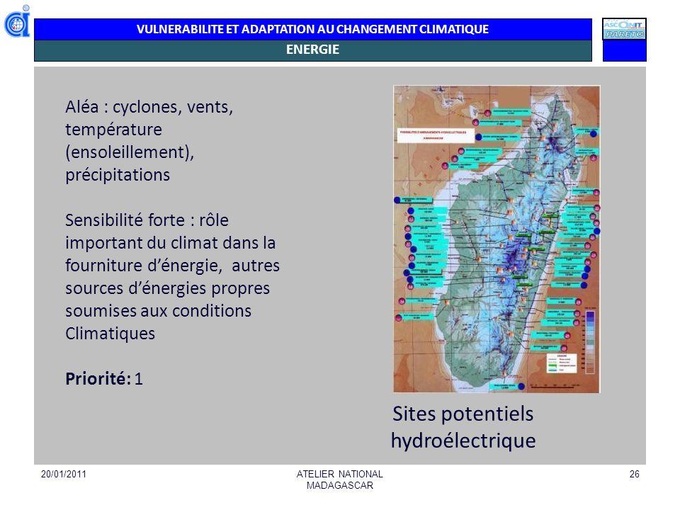 VULNERABILITE ET ADAPTATION AU CHANGEMENT CLIMATIQUE ENERGIE 20/01/2011ATELIER NATIONAL MADAGASCAR 26 Aléa Aléa : cyclones, vents, température (ensole
