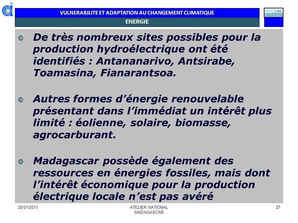 VULNERABILITE ET ADAPTATION AU CHANGEMENT CLIMATIQUE ENERGIE De très nombreux sites possibles pour la production hydroélectrique ont été identifiés :