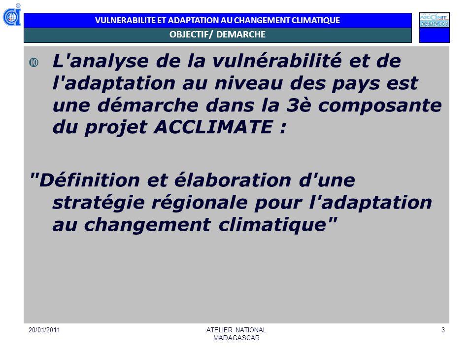VULNERABILITE ET ADAPTATION AU CHANGEMENT CLIMATIQUE OBJECTIF/ DEMARCHE L'analyse de la vulnérabilité et de l'adaptation au niveau des pays est une dé