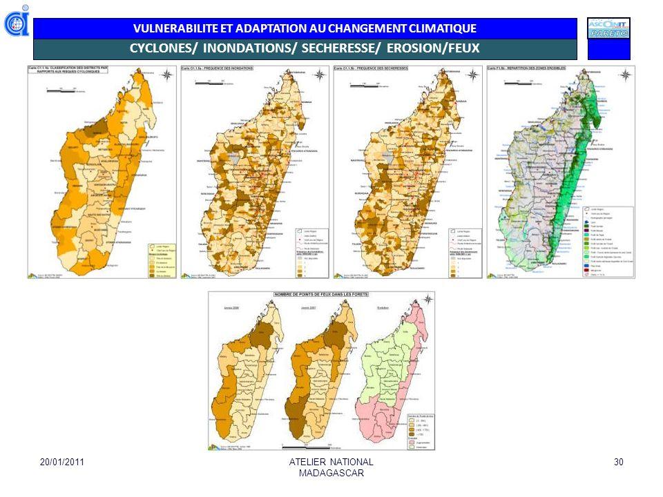 VULNERABILITE ET ADAPTATION AU CHANGEMENT CLIMATIQUE CYCLONES/ INONDATIONS/ SECHERESSE/ EROSION/FEUX 20/01/2011ATELIER NATIONAL MADAGASCAR 30