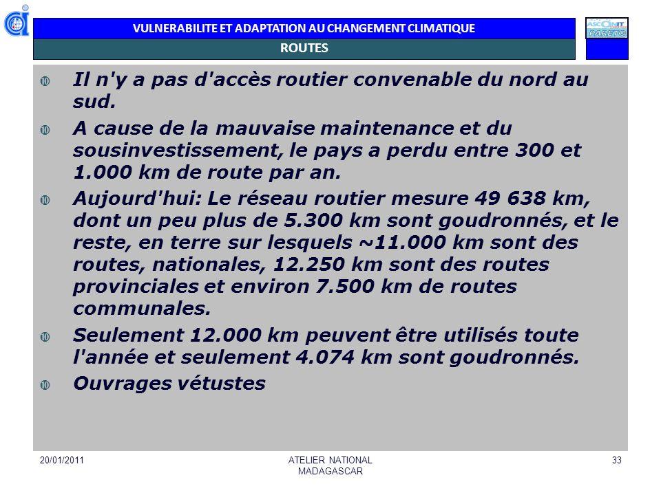VULNERABILITE ET ADAPTATION AU CHANGEMENT CLIMATIQUE ROUTES Il n'y a pas d'accès routier convenable du nord au sud. A cause de la mauvaise maintenance