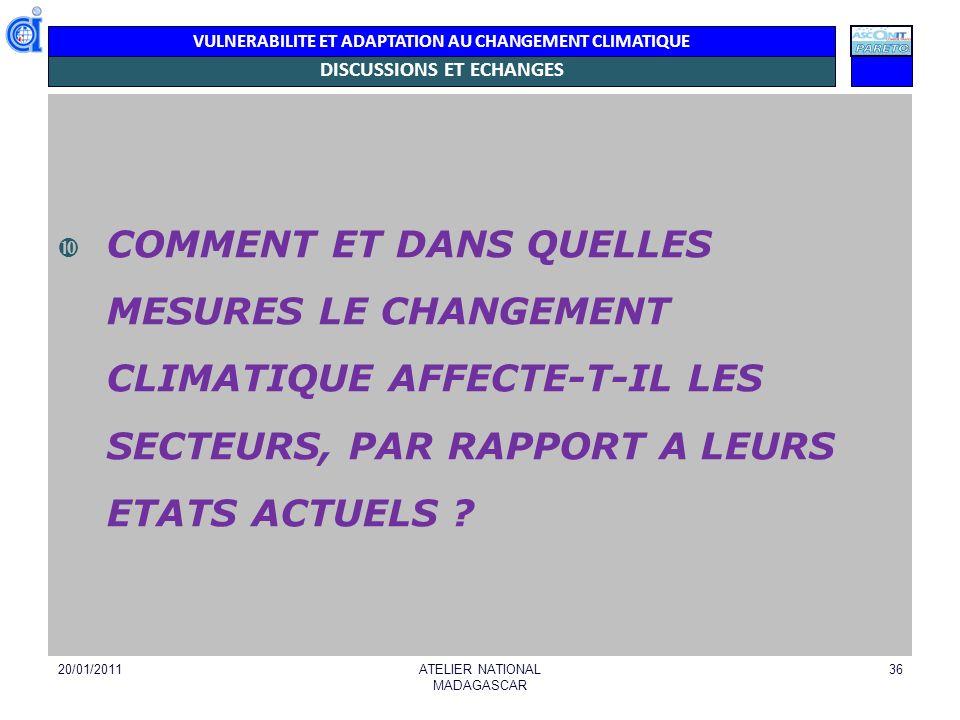 VULNERABILITE ET ADAPTATION AU CHANGEMENT CLIMATIQUE DISCUSSIONS ET ECHANGES COMMENT ET DANS QUELLES MESURES LE CHANGEMENT CLIMATIQUE AFFECTE-T-IL LES