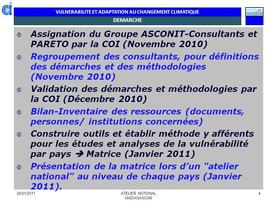 VULNERABILITE ET ADAPTATION AU CHANGEMENT CLIMATIQUE DEMARCHE Assignation du Groupe ASCONIT-Consultants et PARETO par la COI (Novembre 2010) Regroupem