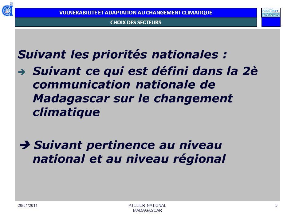 VULNERABILITE ET ADAPTATION AU CHANGEMENT CLIMATIQUE 20/01/2011ATELIER NATIONAL MADAGASCAR 5 CHOIX DES SECTEURS Suivant les priorités nationales : Sui