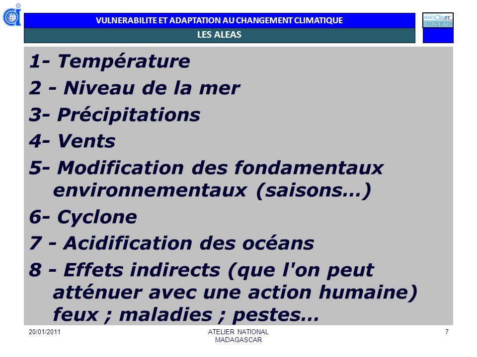 VULNERABILITE ET ADAPTATION AU CHANGEMENT CLIMATIQUE LES ALEAS 1- Température 2 - Niveau de la mer 3- Précipitations 4- Vents 5- Modification des fond