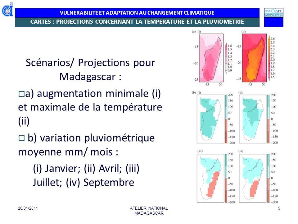 VULNERABILITE ET ADAPTATION AU CHANGEMENT CLIMATIQUE CARTES : PROJECTIONS CONCERNANT LA TEMPERATURE ET LA PLUVIOMETRIE 20/01/2011ATELIER NATIONAL MADA