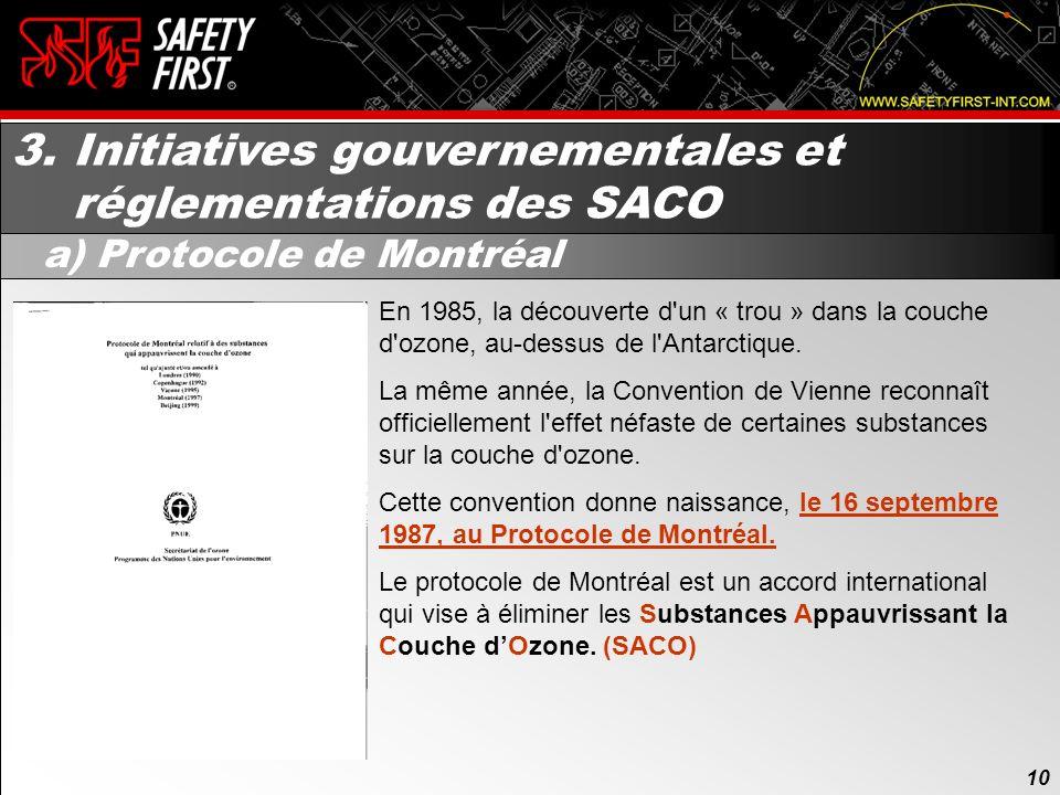 9 9 Table des matières de la présentation: 1.Les origines 2.La destruction de la couche dozone 3.Initiatives gouvernementales et réglementations des S