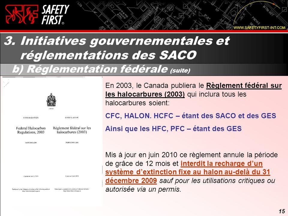 14 3. Initiatives gouvernementales et réglementations des SACO b) Réglementation fédérale (suite) 14 Tableau tiré de la : Stratégie canadienne pour ac