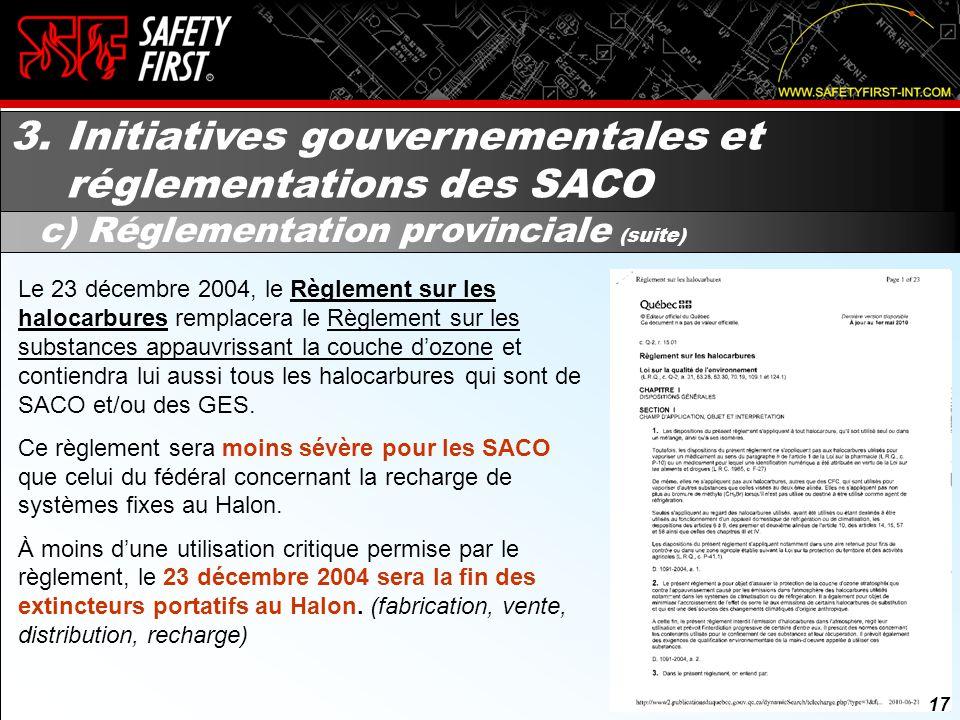 16 3. Initiatives gouvernementales et réglementations des SACO c) Réglementation provinciale Par contre, il interdit la vente ou la distribution de Ha