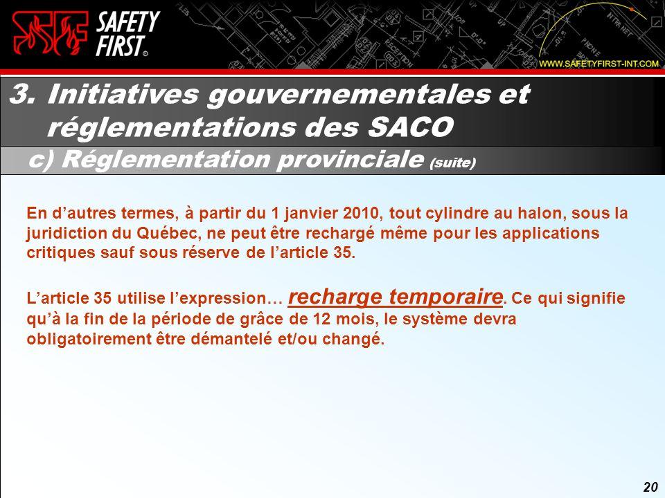 19 3. Initiatives gouvernementales et réglementations des SACO c) Réglementation provinciale (suite) 19 Voici quelques articles du Règlement sur les h