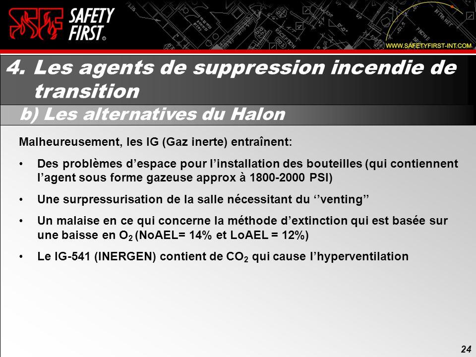 23 4. Les agents de suppression incendie de transition a) Création du NFPA 2001 (suite) 23 Dans le NFPA 2001 on retrouvait déjà à lépoque les : HCFC –