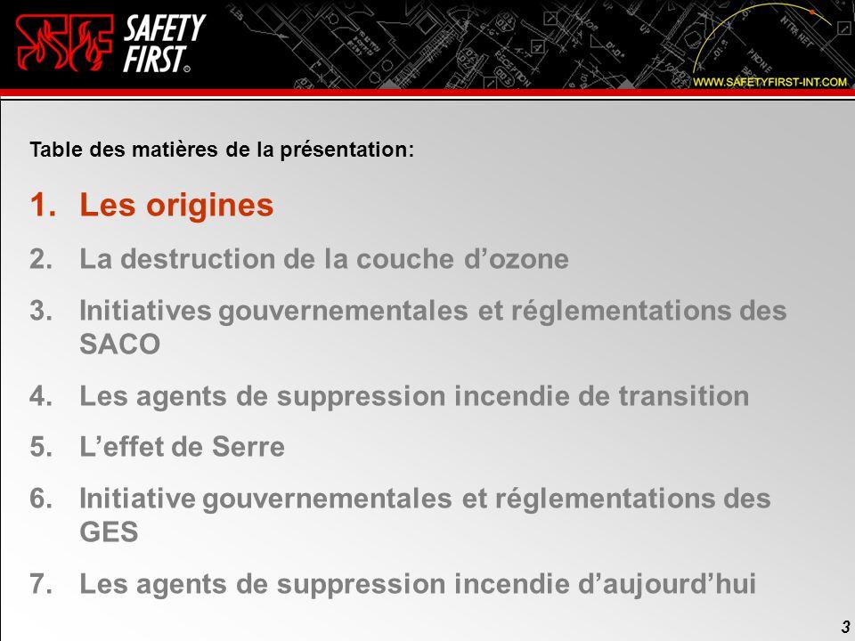2 2 Table des matières de la présentation: 1.Les origines 2.La destruction de la couche dozone 3.Initiatives gouvernementales et réglementations des S