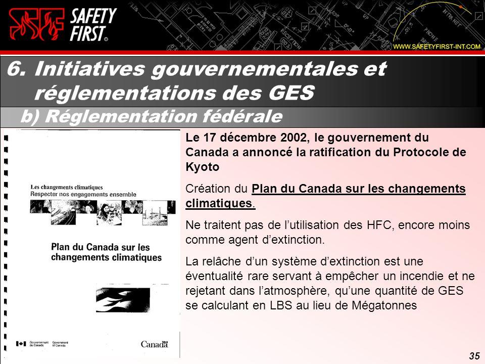 34 6. Initiatives gouvernementales et réglementations des GES a) Protocole de Kyoto En décembre 1997, quelques 160 pays se sont réunis à Kyoto, au Jap
