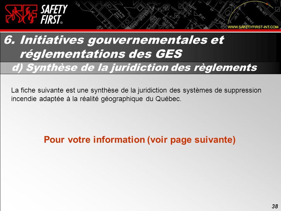 37 6. Initiatives gouvernementales et réglementations des GES c) Réglementation provinciale Comme mentionné précédemment à la section 3.c), le Règleme