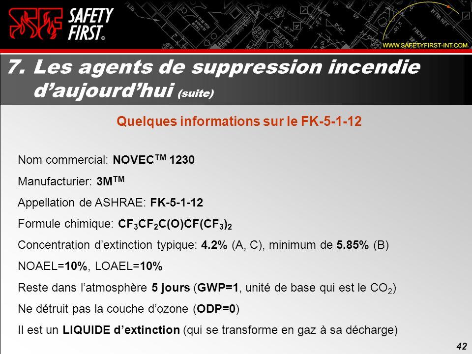 41 7. Les agents de suppression incendie daujourdhui Le NFPA 2001 en est à sa 5ieme édition. Soit lédition 2008. Certains agents ont été retirés du st