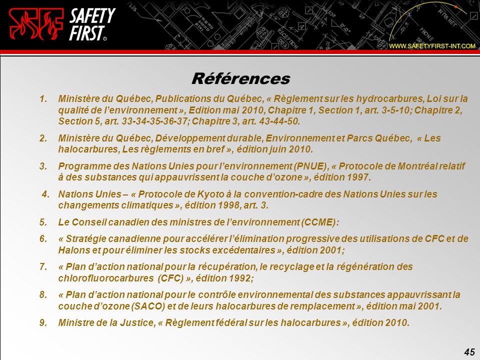 44 7. Les agents de suppression incendie daujourdhui (suite) Quelques informations sur le FK-5-1-12 Depuis son arrivée sur le marché, le NOVEC 1230 a
