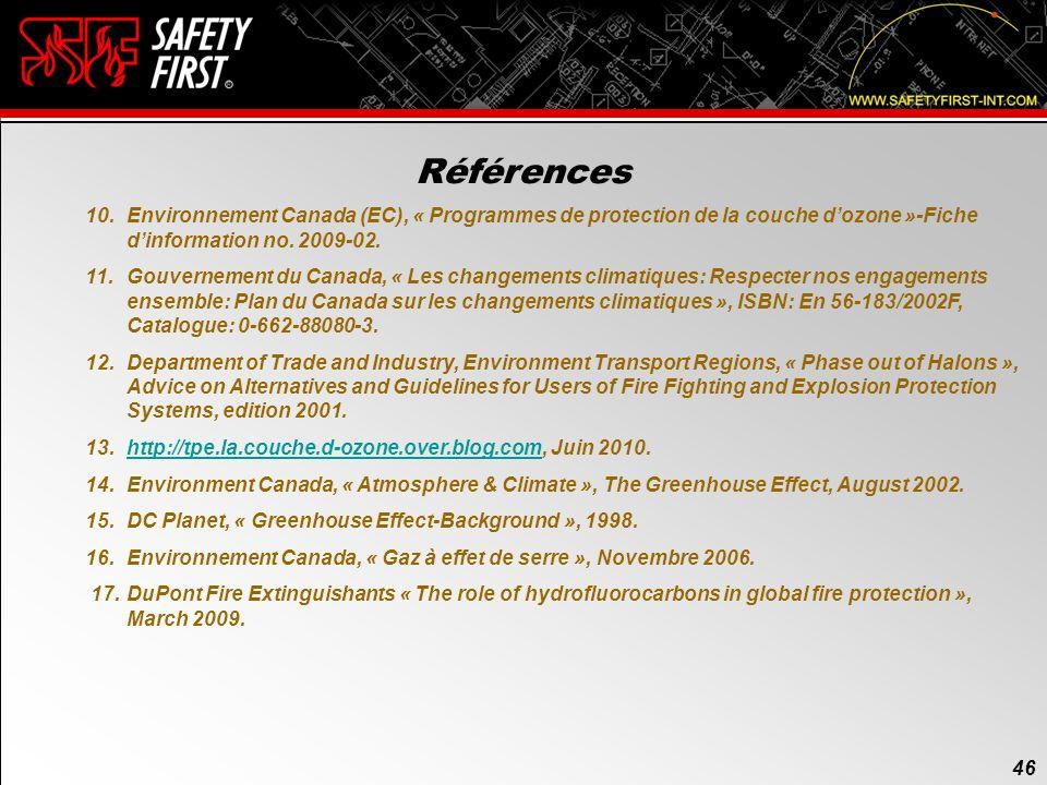 45 Références 45 1.Ministère du Québec, Publications du Québec, « Règlement sur les hydrocarbures, Loi sur la qualité de lenvironnement », Edition mai