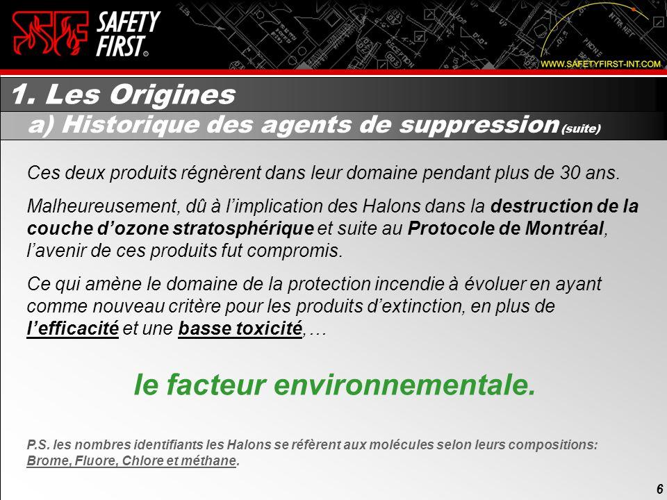 5 1. Les Origines 5 a) Historique des agents de suppression (suite) Malgré lefficacité du Bromométhane et du Bromochlorométhane en suppression incendi