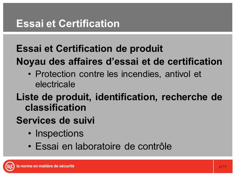 p/11 Essai et Certification Essai et Certification de produit Noyau des affaires dessai et de certification Protection contre les incendies, antivol e