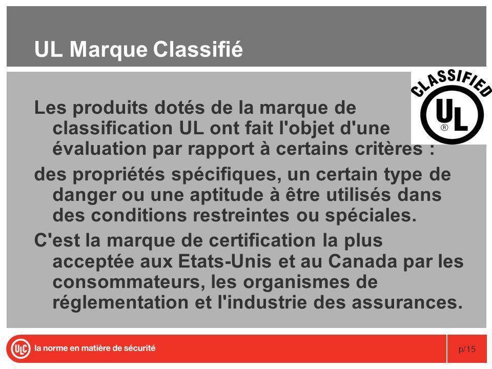 p/15 UL Marque Classifié Les produits dotés de la marque de classification UL ont fait l'objet d'une évaluation par rapport à certains critères : des