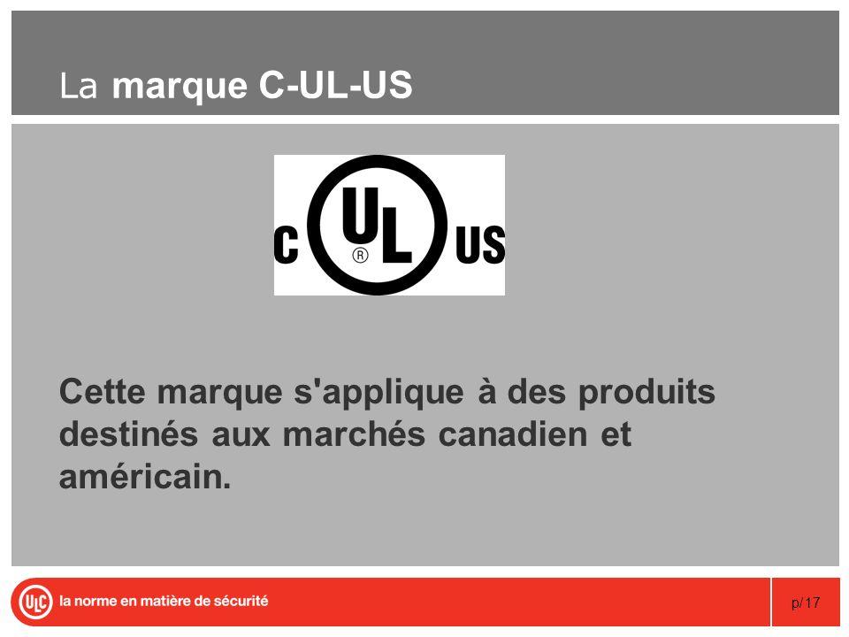 p/17 La marque C-UL-US Cette marque s'applique à des produits destinés aux marchés canadien et américain.