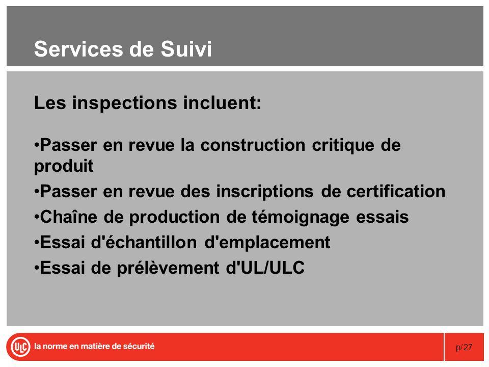 p/27 Services de Suivi Les inspections incluent: Passer en revue la construction critique de produit Passer en revue des inscriptions de certification