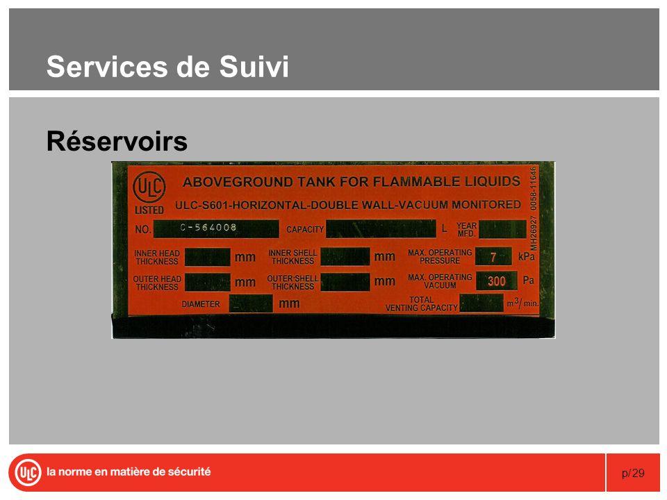 p/29 Services de Suivi Réservoirs