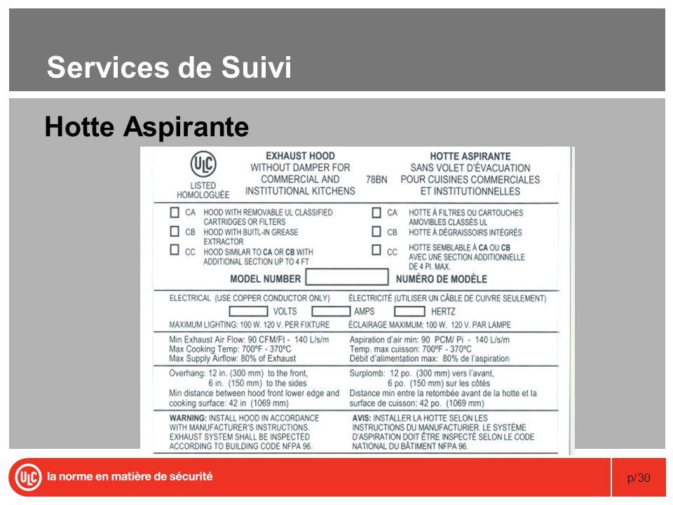 p/30 Services de Suivi Hotte Aspirante