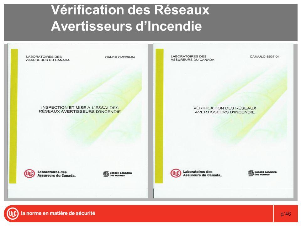 p/46 Vérification des Réseaux Avertisseurs dIncendie